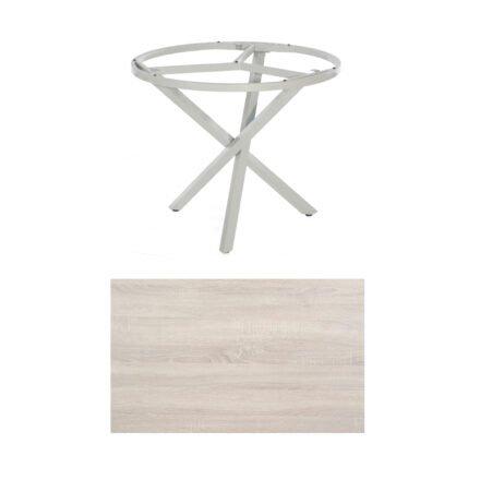 "SonnenPartner Tisch ""Base-Spectra"", rund, Gestell Aluminium silber, Tischplatte HPL Eiche sägerau, Ø 100 cm"