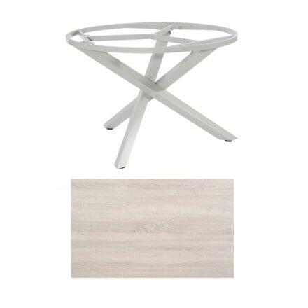"SonnenPartner Tisch ""Base-Spectra"", rund, Gestell Aluminium silber, Tischplatte HPL Eiche sägerau, Ø 134 cm"