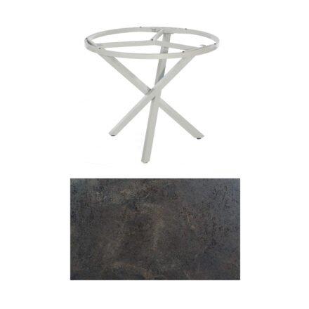 "SonnenPartner Tisch ""Base-Spectra"", rund, Gestell Aluminium silber, Tischplatte HPL Keramikoptik, Ø 100 cm"