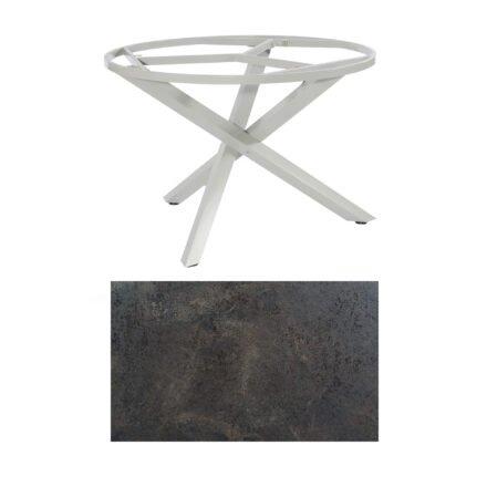 "SonnenPartner Tisch ""Base-Spectra"", rund, Gestell Aluminium silber, Tischplatte HPL Keramikoptik, Ø 134 cm"
