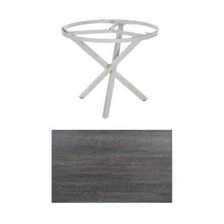 """SonnenPartner Tisch """"Base-Spectra"""", rund, Gestell Aluminium silber, Tischplatte HPL Mali wenge, Ø 100 cm"""