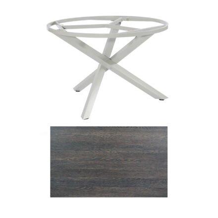 """SonnenPartner Tisch """"Base-Spectra"""", rund, Gestell Aluminium silber, Tischplatte HPL Mali wenge, Ø 134 cm"""