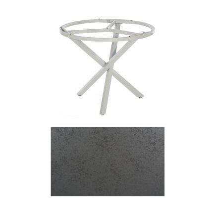 """SonnenPartner Tisch """"Base-Spectra"""", rund, Gestell Aluminium silber, Tischplatte HPL Struktura anthrazit, Ø 100 cm"""