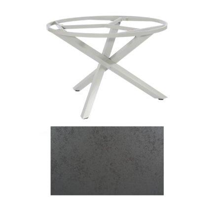 """SonnenPartner Tisch """"Base-Spectra"""", rund, Gestell Aluminium silber, Tischplatte HPL Struktura anthrazit, Ø 134 cm"""