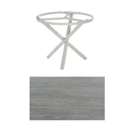 """SonnenPartner Tisch """"Base-Spectra"""", rund, Gestell Aluminium silber, Tischplatte HPL Vintageoptik, Ø 100 cm"""