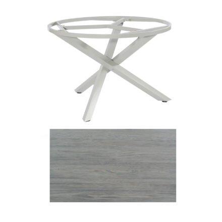 """SonnenPartner Tisch """"Base-Spectra"""", rund, Gestell Aluminium silber, Tischplatte HPL Vintageoptik, Ø 134 cm"""