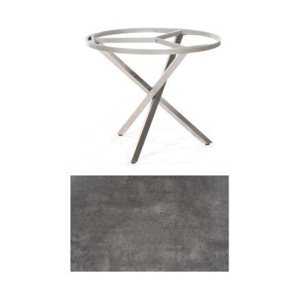 "SonnenPartner Tisch ""Base-Spectra"", rund, Gestell Edelstahl, Tischplatte HPL Beton dunkel, Ø 100 cm"