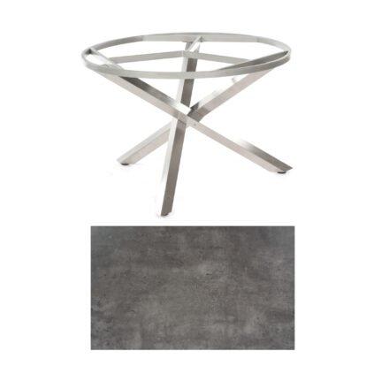 "SonnenPartner Tisch ""Base-Spectra"", rund, Gestell Edelstahl, Tischplatte HPL Beton dunkel, Ø 134 cm"