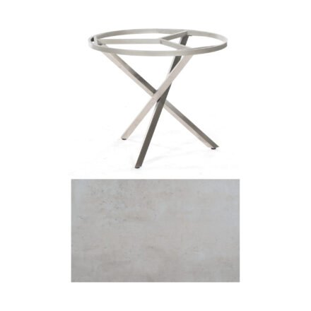 "SonnenPartner Tisch ""Base-Spectra"", rund, Gestell Edelstahl, Tischplatte HPL Beton hell, Ø 100 cm"