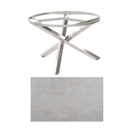 "SonnenPartner Tisch ""Base-Spectra"", rund, Gestell Edelstahl, Tischplatte HPL Beton hell, Ø 134 cm"