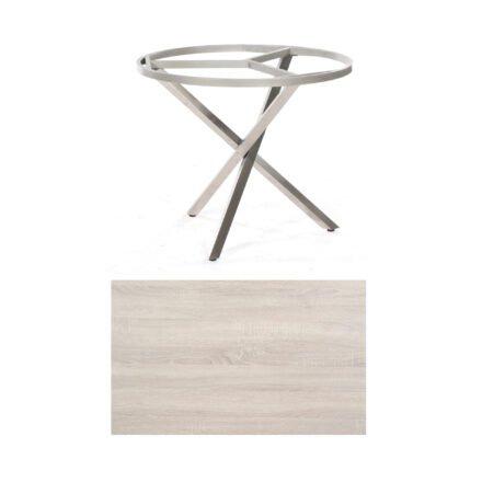 """SonnenPartner Tisch """"Base-Spectra"""", rund, Gestell Edelstahl, Tischplatte HPL Eiche sägerau, Ø 100 cm"""