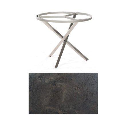 """SonnenPartner Tisch """"Base-Spectra"""", rund, Gestell Edelstahl, Tischplatte HPL Keramikoptik, Ø 100 cm"""