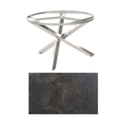 """SonnenPartner Tisch """"Base-Spectra"""", rund, Gestell Edelstahl, Tischplatte HPL Keramikoptik, Ø 134 cm"""