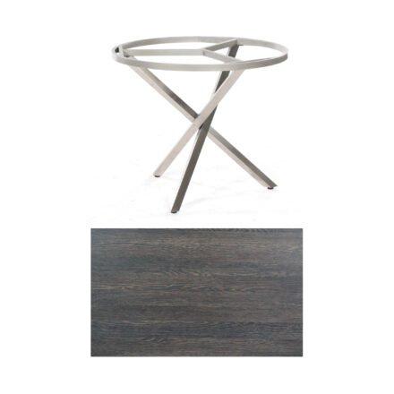 """SonnenPartner Tisch """"Base-Spectra"""", rund, Gestell Edelstahl, Tischplatte HPL Mali wenge, Ø 100 cm"""