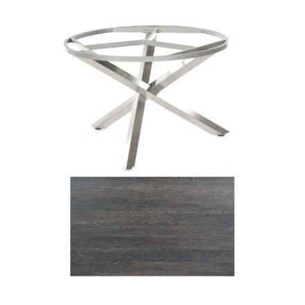 """SonnenPartner Tisch """"Base-Spectra"""", rund, Gestell Edelstahl, Tischplatte HPL Mali wenge, Ø 134 cm"""
