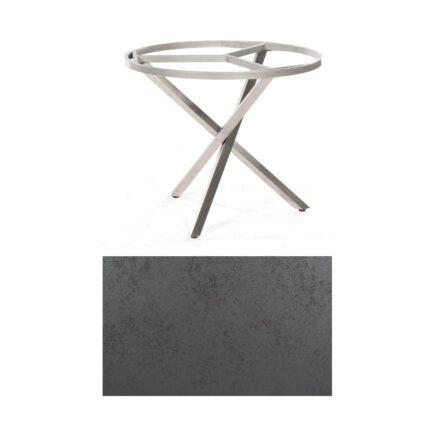 """SonnenPartner Tisch """"Base-Spectra"""", rund, Gestell Edelstahl, Tischplatte HPL Struktura anthrazit, Ø 100 cm"""