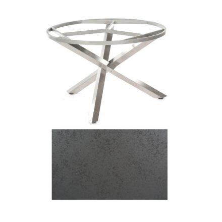 """SonnenPartner Tisch """"Base-Spectra"""", rund, Gestell Edelstahl, Tischplatte HPL Struktura anthrazit, Ø 134 cm"""