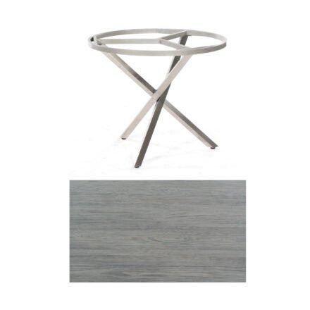 """SonnenPartner Tisch """"Base-Spectra"""", rund, Gestell Edelstahl, Tischplatte HPL Vintageoptik, Ø 100 cm"""