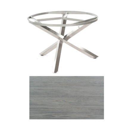 """SonnenPartner Tisch """"Base-Spectra"""", rund, Gestell Edelstahl, Tischplatte HPL Vintageoptik, Ø 134 cm"""