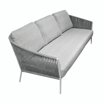"Jati&Kebon ""Fortuna"" 3-Sitzer Loungesofa, Gestell Aluminium weiß, Bespannung Rope hellgrau melange, Kissen Natté Grey Chiné, Sitzkissen im Original 3-teilig"