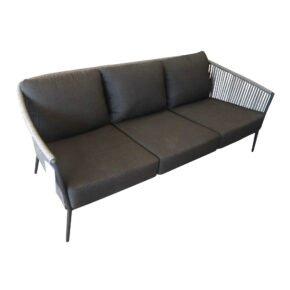 "Jati&Kebon ""Fortuna"" 3-Sitzer Loungesofa, Gestell Aluminium eisengrau, Bespannung Rope grau, Kissen Natté Sooty"
