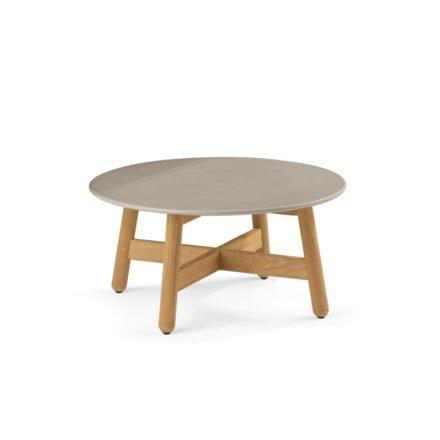"Dedon Kaffeetisch ""MBRACE"", Untergestell Teakholz, Keramik-Tischplatte taupe"