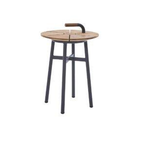"""Diamond Garden Beistelltisch """"Nora"""" hoch, Gestell Aluminium dunkelgrau, Tischplatte recyceltes Teakholz naturfarben, Ø 42 cm"""