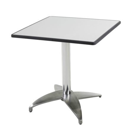 """Diamond Garden Tisch """"Leon"""", Gestell Aluminium poliert mit 4 Füßen, Tischplatte DiGalit, Metall gebürstet, 70x70 cm"""