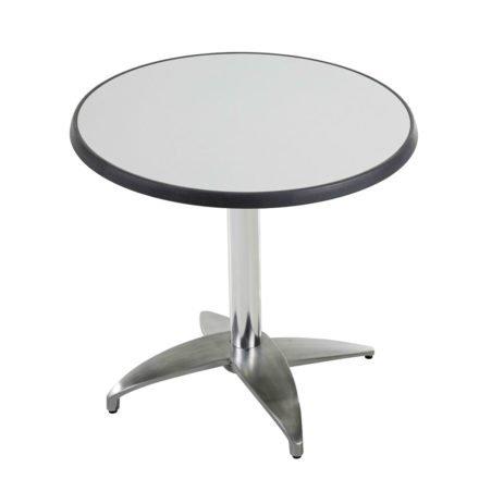"""Diamond Garden Tisch """"Leon"""", Gestell Aluminium poliert mit 4 Füßen, Tischplatte DiGalit, Metall gebürstet, Ø 70 cm"""