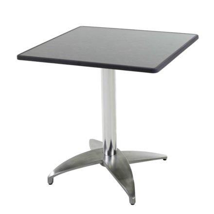 """Diamond Garden Tisch """"Leon"""", Gestell Aluminium poliert mit 4 Füßen, Tischplatte DiGalit, Pizarra, 70x70 cm"""