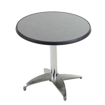 """Diamond Garden Tisch """"Leon"""", Gestell Aluminium poliert mit 4 Füßen, Tischplatte DiGalit, Pizarra, Ø 70 cm"""