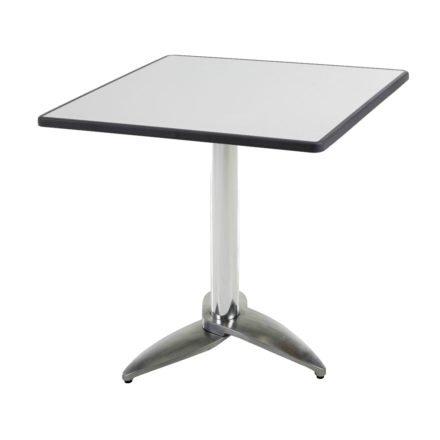 """Diamond Garden Tisch """"Leon"""", Gestell Aluminium poliert mit 3 Füßen, Tischplatte DiGalit, Metall gebürstet, 70x70 cm"""