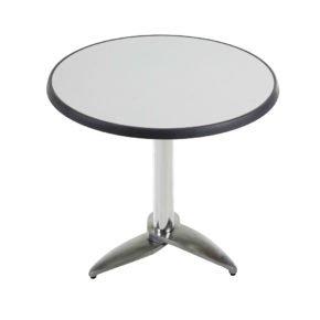 """Diamond Garden Tisch """"Leon"""", Gestell Aluminium poliert mit 3 Füßen, Tischplatte DiGalit, Metall gebürstet, Ø 70 cm"""
