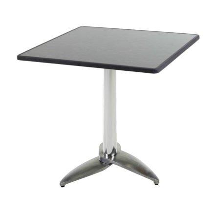 """Diamond Garden Tisch """"Leon"""", Gestell Aluminium poliert mit 3 Füßen, Tischplatte DiGalit, Pizarra, 70x70 cm"""