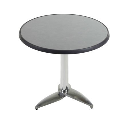 """Diamond Garden Tisch """"Leon"""", Gestell Aluminium poliert mit 3 Füßen, Tischplatte DiGalit, Pizarra, Ø 70 cm"""