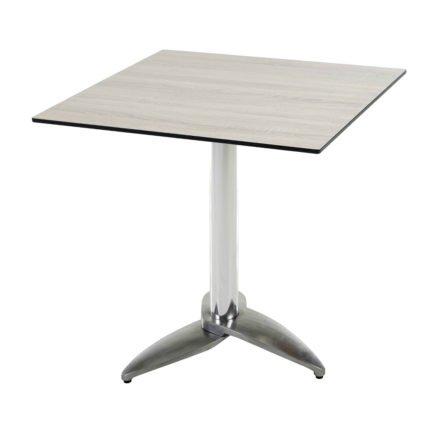 """Diamond Garden Tisch """"Leon"""", Gestell Aluminium poliert mit 3 Füßen, Tischplatte HPL, Eiche sägerau, 68x68 cm"""