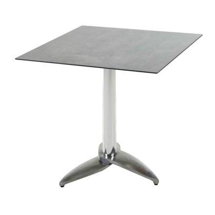 "Diamond Garden Tisch ""Leon"", Gestell Aluminium poliert mit 3 Füßen, Tischplatte HPL, Beton dunkel, 68x68 cm"