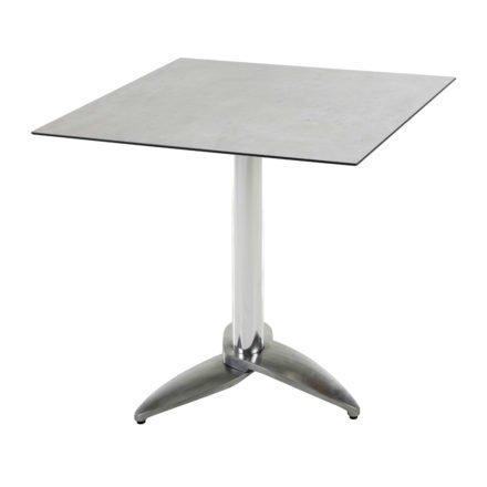 "Diamond Garden Tisch ""Leon"", Gestell Aluminium poliert mit 3 Füßen, Tischplatte HPL, Beton hell, 68x68 cm"