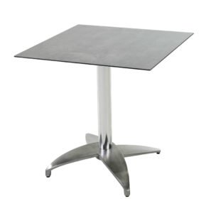 "Diamond Garden Tisch ""Leon"", Gestell Aluminium poliert mit 4 Füßen, Tischplatte HPL, Beton dunkel, 68x68 cm"