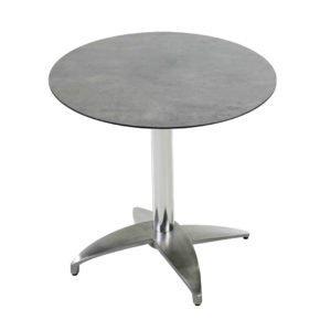 "Diamond Garden Tisch ""Leon"", Gestell Aluminium poliert mit 4 Füßen, Tischplatte HPL, Beton dunkel, Ø 68 cm"