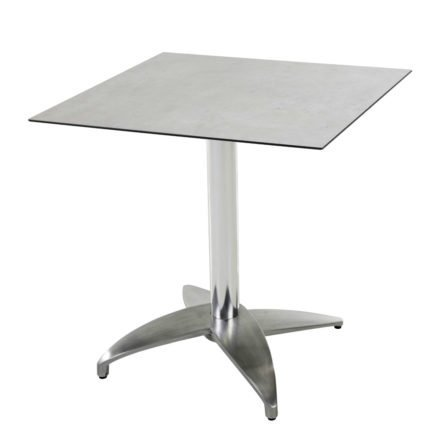 "Diamond Garden Tisch ""Leon"", Gestell Aluminium poliert mit 4 Füßen, Tischplatte HPL, Beton hell, 68x68 cm"
