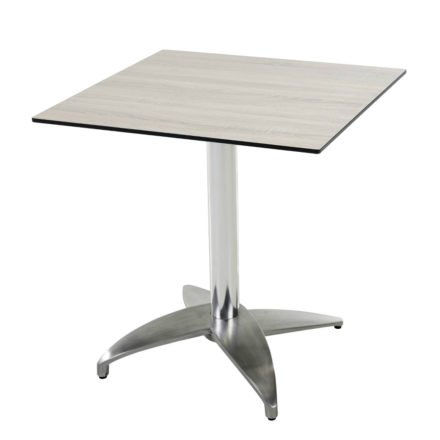 """Diamond Garden Tisch """"Leon"""", Gestell Aluminium poliert mit 4 Füßen, Tischplatte HPL, Eiche sägerau, 68x68 cm"""
