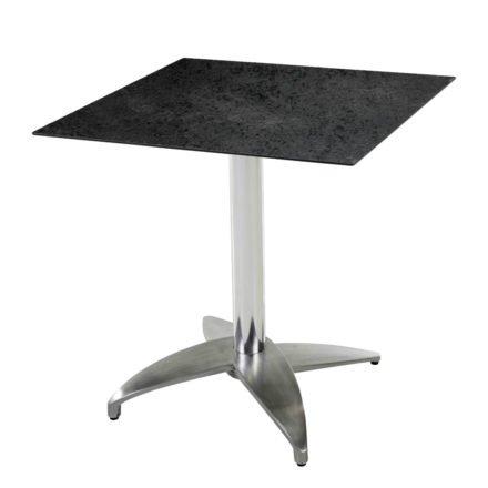 """Diamond Garden Tisch """"Leon"""", Gestell Aluminium poliert mit 4 Füßen, Tischplatte HPL, Schiefer, 68x68 cm"""
