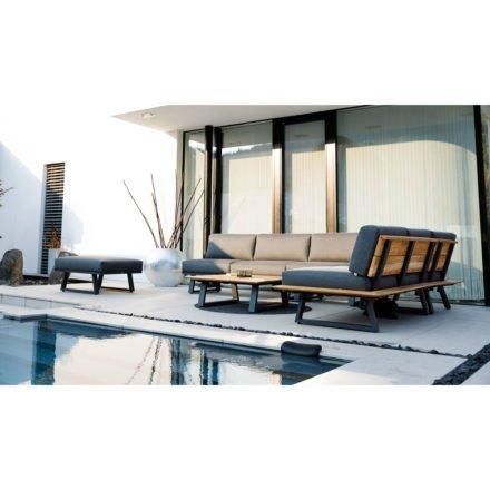 "Diamond Garden Loungeserie ""Nora Sun & Rain"", Gestell Aluminium anthrazit und Teak, Bezüge Tuvatextil® grau"