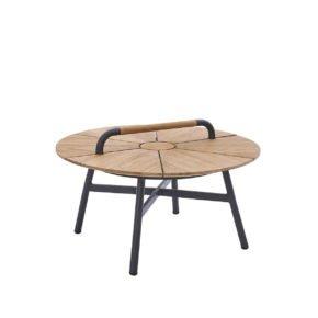 """Diamond Garden Beistelltisch """"Nora"""", Gestell Aluminium dunkelgrau, Tischplatte recyceltes Teakholz naturfarben, Ø 70 cm"""