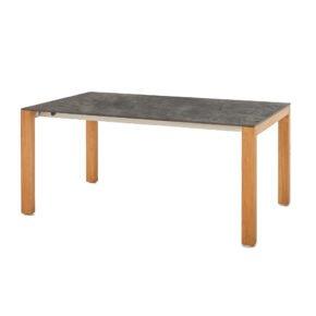 """Diamond Garden Gartentisch """"Palermo"""", Tischbeine Teakholz, Tischplatte HPL Beton dunkel"""