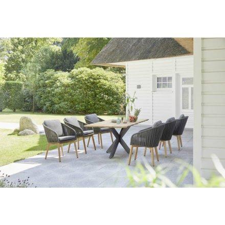 """Diamond Garden """"Palma"""" Dining-Sessel, Rope grau und Teak-Untergestell mit Gartentisch """"Marbella"""""""