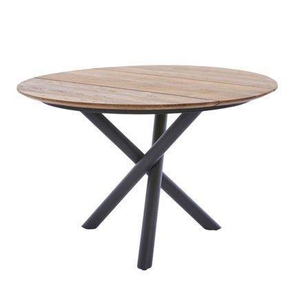 """Diamond Garden Tisch """"San Marino"""" rund, Gestell Edelstahl dunkelgrau, Platte 3 Planken Recycled Teak Natur, Ø 120 cm"""