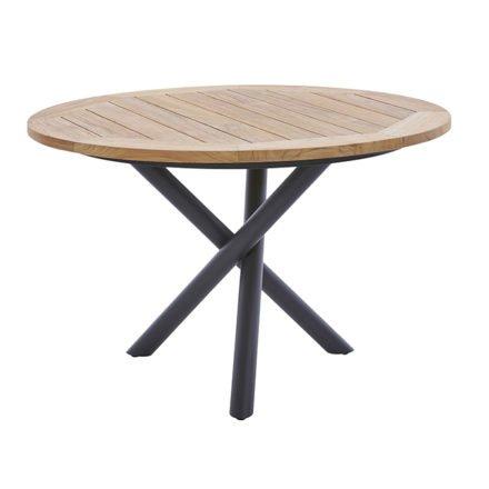 """Diamond Garden Tisch """"San Marino"""" rund, Gestell Edelstahl dunkelgrau, Platte Recycled Teak Natur, Ø 120 cm"""