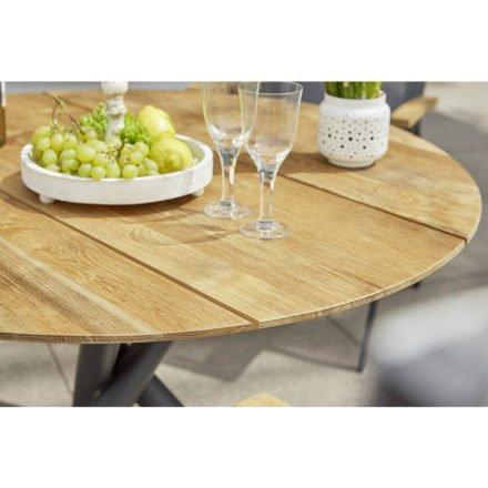 "Diamond Garden Gartentisch ""San Marino"", Gestell Edelstahl dunkelgrau, Platte 3 Planken Recycled Teak Natur, Ø 120 cm"
